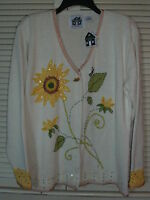 Storybook Knits Sweater Size M Flower And Bumblebee Pattern W/ Bee Pin