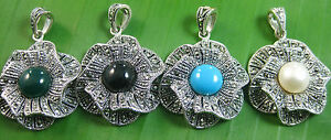 NEW-100% real 925 STERLING SILVER marcasite TURQUOISE Pearl ONYX flower Pendant