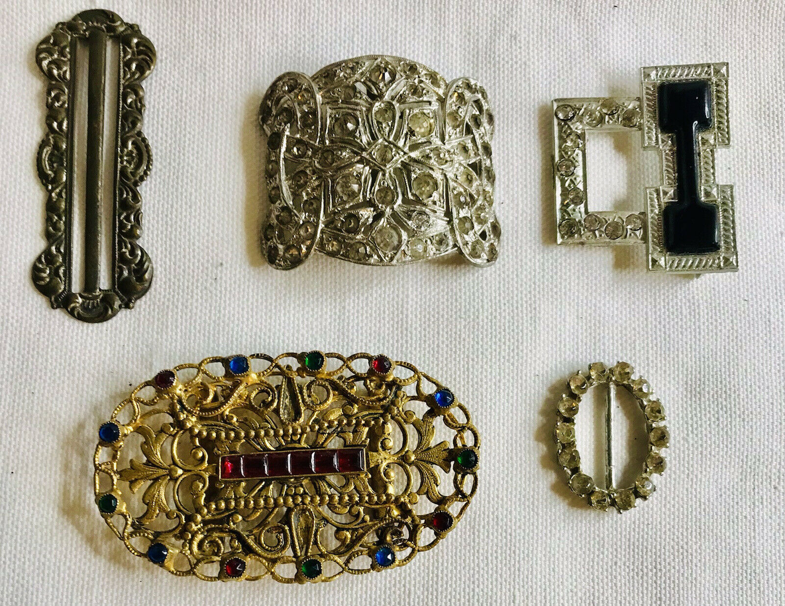 Lot of 5 Vintage Antique Late 1800s Forward Women's Belt Clips Stones Ornate