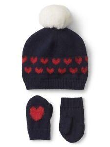 356c7260c25ec 0 3 6 M BABY GAP Navy Blue Red HEART Pom Pom Hat Mittens Set New ...