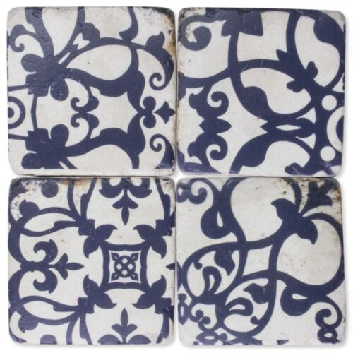Blue Patterned Drink Table Coasters Set of 4 Resin Stone Ceramic Cork Base