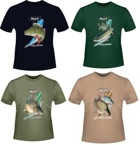 Bekleidung YORK T-Shirt für Angler & Fischer Fishing Passion Geschenkidee Angeln M-L-XL-XXL