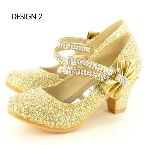 Girl/'s Childrens Kids Mid Kitten Heel Diamante Party Bridesmaid Sandals Size 9-3