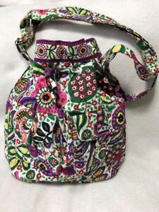 Viva-La-Vera-Bradley-Quick-Draw-Purple-Pink-Green-Floral-Bucket-Purse-Drawstring