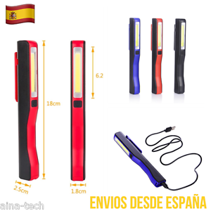 Lampara-De-Trabajo-USB-2-En-1-COB-Led-Linterna-De-Taller-Senderismo-Camping-Etc