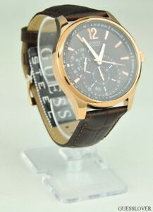 New-mens-guess-original-boys-brown-genuine-leather-watch