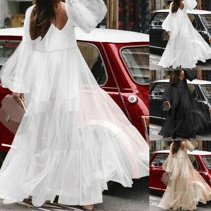 Women-Puff-Sleeve-Casual-Maxi-Dress-Loose-Mesh-Pleated-Ruffle-Long-Lace-Sundress