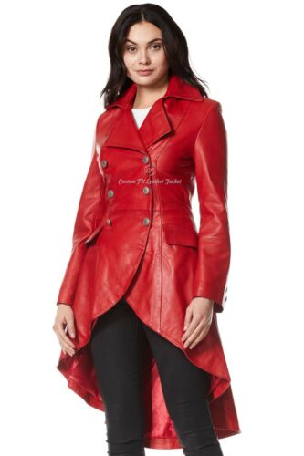 Ladies Leather Jacket Red 100/% REAL NAPA Back Laced Victorian Gothic Coat 3492