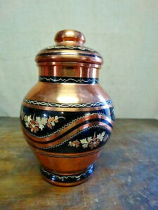 "Vintage GULISTAN  Etched Copper Urn with Inlay  6-1/2"" Tall x 4"" Wide - Turkey"