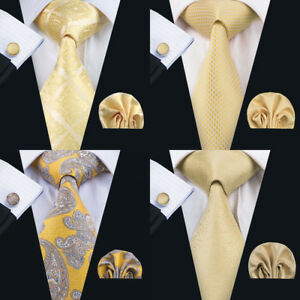USA-Classic-Men-Ties-Silk-Solid-Gold-Necktie-Tie-Pocket-Square-Set-Wedding-Woven