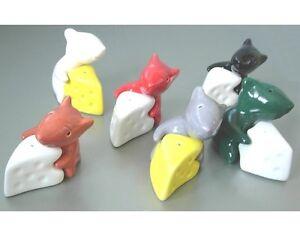 Salz-und-Pfefferstreuer-034-Maus-m-Kaese-034-Keramik-glasiert-verschiedene-Farben