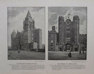 1896 London Stampa + Testo Nuovo Royal College Of Music Porta St.JAMES'S PALACE
