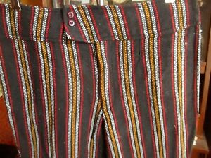 31x29-FIT-True-Vtg-70s-BURLAP-ACRYLIC-KNIT-FLARE-HIPPY-JEANS-PANTS
