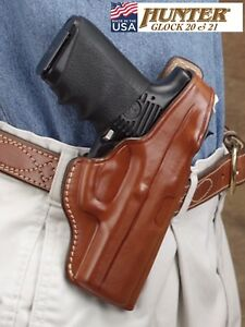 Details about Hunter Leather Concealment Holster for GLOCK 20 21 OWB Fitted  Thumb Break