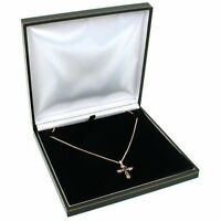 Black Leather Necklace Gift Box Jewelry Display Case, New, Free Shipping