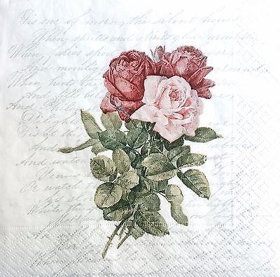 4 Single Paper Napkins, for Decoupage, Sagen, Napkin, Vintage,Craft, Roses U/6