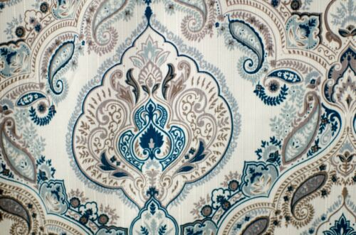 Elaine Fabric Bathroom Bath Shower Curtain Teal Blue Mocha Floral Paisley 70x70