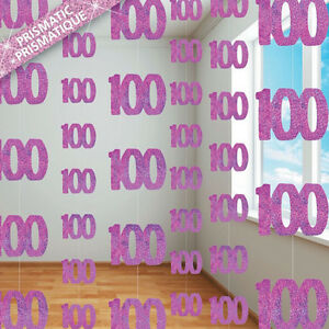 Image Is Loading 100th BIRTHDAY PARTY SUPPLIES PK 6 GLITZ PINK