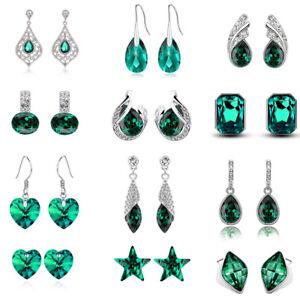 Emerald-Green-Christmas-Women-Dangle-Drop-Stars-Almond-Silver-Long-Earrings