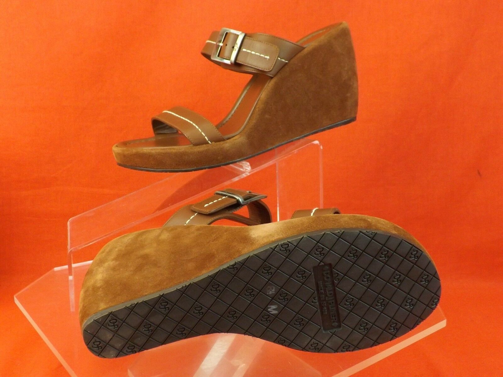 NIB DONALD J PLINER BROWN BROWN BROWN LEATHER RABA TAN VACHETTA SUEDE WEDGE SPAIN 9  175 bc0f84