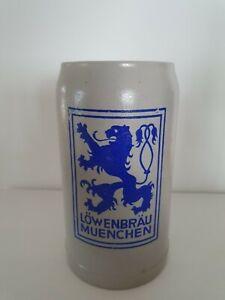 Alter-Steinkrug-Loewenbraeu-Krug-Masskrug-Brauerei-Tonkrug-Masskrug-Bierkrug-1-L