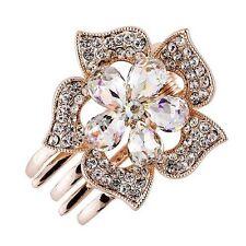 Hair Clip Claw using Swarovski Crystal Hairpin Flower Bridal Wedding Gold AB 6