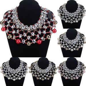 Fashion-Statement-Chain-Resin-Pearl-Glass-Chunky-Choker-Bib-Necklace-Jewelry-New