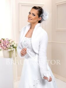 Brautjacke Fell Brautbolero Jacke Winter Hochzeit Weiss Ivory 36 38