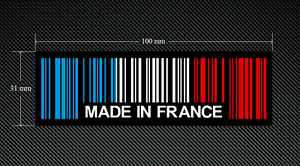 2-x-MADE-IN-FRANCE-BAR-CODE-Stickers-Decals-with-a-Black-Background-EURO-DUB