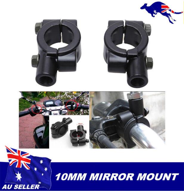 2 x Round Black Metal Motorcycle Scooter 7/8 22mm Handlebar 10mm Mirror Mount