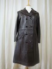 Super Vintage Unused 1970's Double Breasted Brown Leather Trench Coat- Size 38