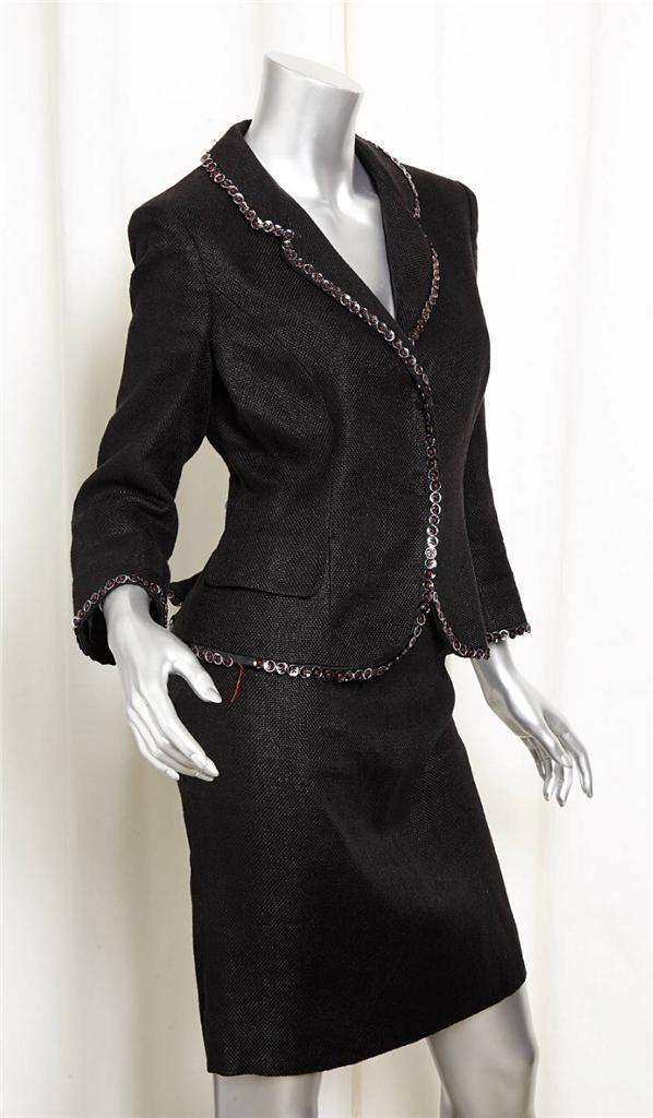 ALEXANDER McQUEEN para mujer Negro  Lino Algodón Chaqueta Blazer bombilla falda traje 40 4  las mejores marcas venden barato