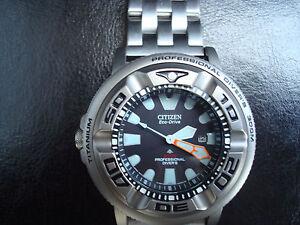 Citizen promaster titanium eco drive 300mm ecozilla diver 39 s wristwatch ebay - Citizen titanium dive watch ...
