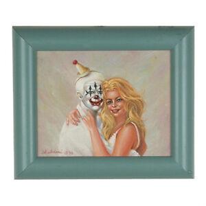 """"""" Clowns Love Pretty Filles """" Par Anthony Sidoni 1999 Signée Huile Peinture"""