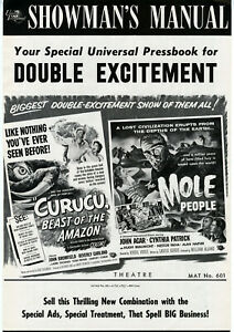 CURUCU-amp-MOLE-PEOPLE-Combo-Beverly-Garland-John-Agar-Universal-1956