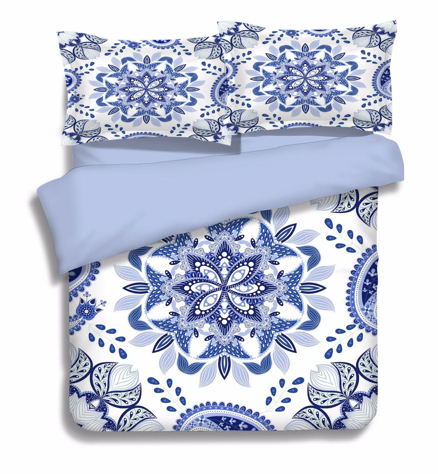 3D Bule Petals 756 Bed Pillowcases Quilt Duvet Cover Set Single Queen UK Carly