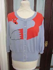Little Miss Sew Intarsia knit two-tone Fox cardigan, size XL
