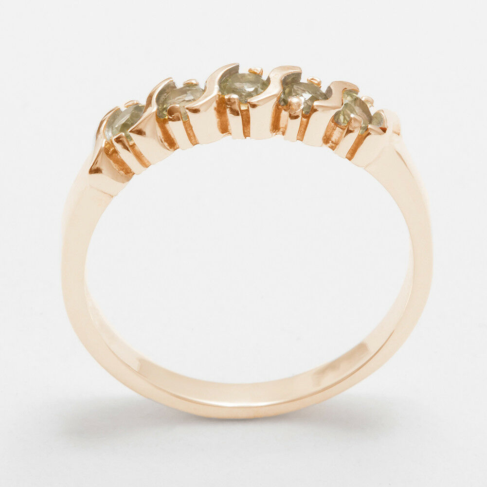 Solid 18k pink gold Natural Peridot Womens Eternity Ring - Sizes 4 to 12