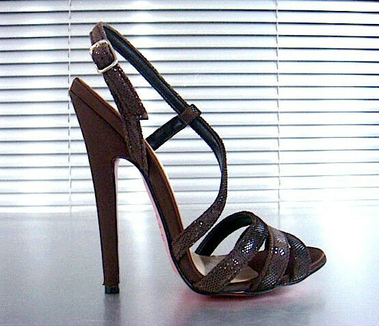 MORI ITALY SANDALS HIGH HEELS SANDALETTE SANDALI PYTHON LEATHER BROWN MARRONE 43