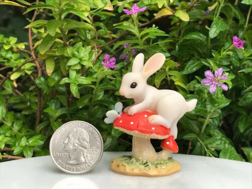 Miniature FAIRY GARDEN Figurine Mini White Bunny Rabbit on Mushroom w Butterfly
