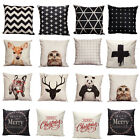 Vintage Cotton Owl Linen Pillow Case Sofa Waist Throw Cushion Cover Home Decor T
