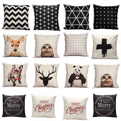 Vintage Cotton Owl Linen Pillow Case Sofa Waist Throw Cushion Cover Home Decor T