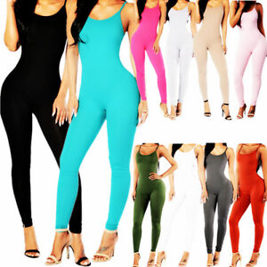 Stretch-Jumpsuit-Romper-Lady-Long-Blouse-Top-Bodysuit-Women-Sleeveless-Leotard