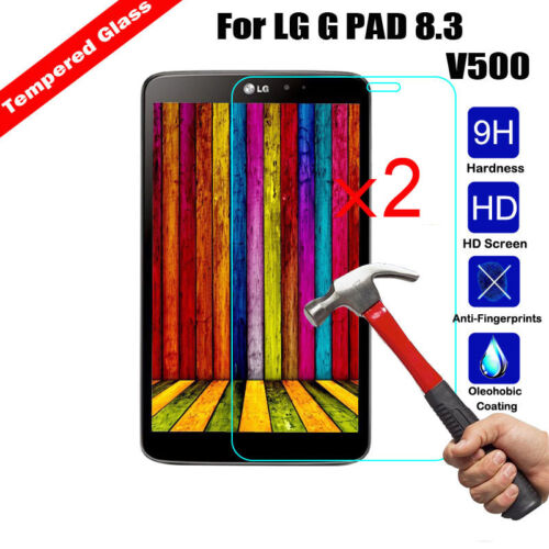 2Pcs Genuine Tempered Glass 9H Screen Protector Cover For LG G pad f 8.0 V495