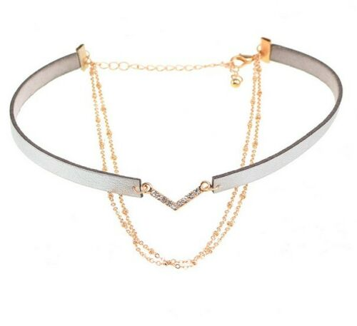 2018 Summer Choker Necklace Chain Pendant Multi Layer V Crystal Leather Gift PP1