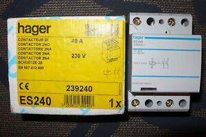CONTACTEUR 2 POLES 40A HAGER ES240, 40 AMPERES Bobine 220V 2 contact à fermeture