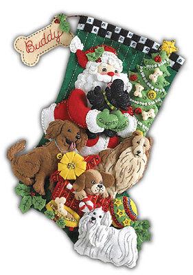 "Bucilla 18"" Christmas Stocking Kit ""Santa Paws""  Dogs Bead, Sequin, Felt   NEW"