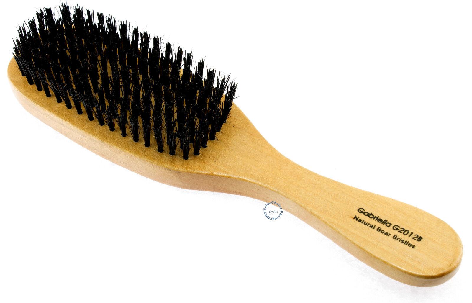 Wave Hair Brush Wood Handle Reinforced Hard Bristle Men