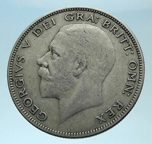 1928-Great-Britain-United-Kingdom-UK-King-GEORGE-V-Silver-Half-Crown-Coin-i78017