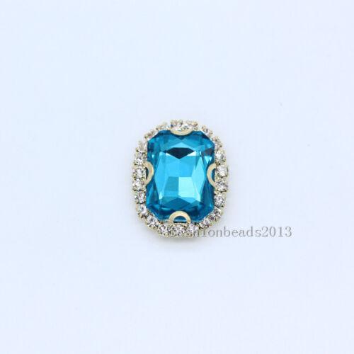 12p 18x13mm rectangle Wedding Costume Decor sew on glass Rhinestones Trim button